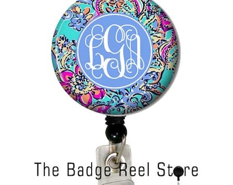 Name Badge Holder, Retractable ID Badge Holder, Name Tag, Personalized, Badge Reel, ID holder, Nurse, Monogrammed - Preppy Bait and Switch