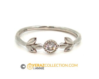 18K Vintage style White Gold Flower ring, leaf Ring,engagement ring,wedding ring, 1213.