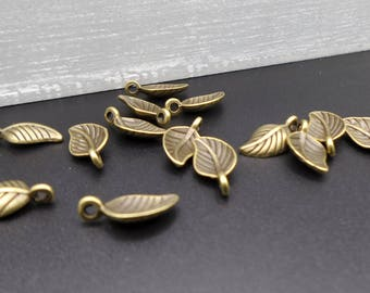 5 charms small leaves bronze 1.5 x 0.70 cm