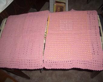 Vintage 2  hand crochet tiny stitch place mats,dusty rose color... tiny stitch
