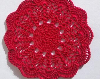 Red doily/ crochet doily/ crochet home decor/ red home decor/ red lace doily/ christmas doily/ valentine gift