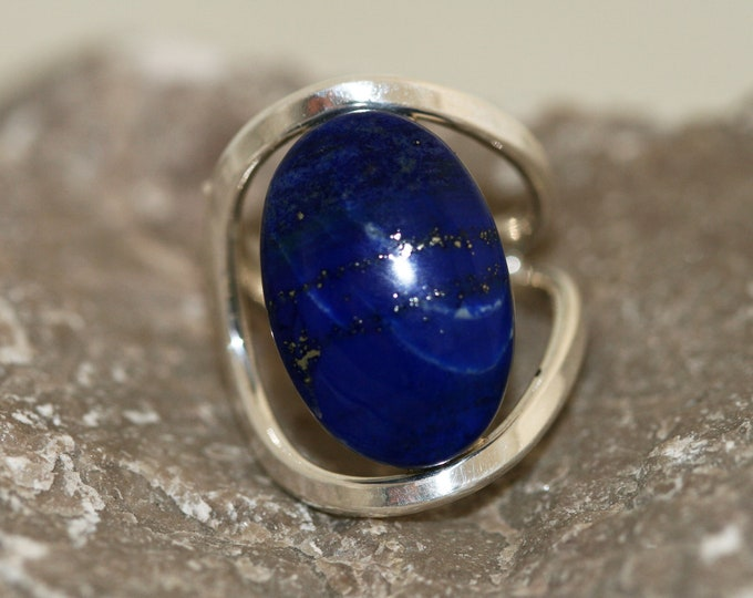 Beautiful Lapis Lazuli Ring fitted in Sterling Silver setting. Handmade & unique.