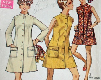 """Vintage 1960s Simplicity 8077, Sewing Pattern, Misses' Dress in Two Lengths, Misses' Size 10, Bust 32 1/2"""", 1960s Pattern, OLD2NEWMEMORIES"""