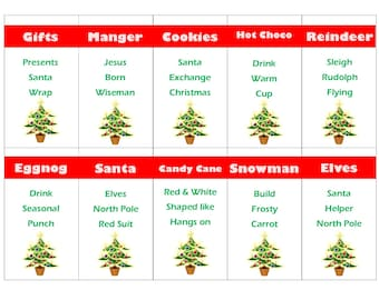Printable Christmas Game Cards for Taboo - Group Game- Family Game - All Ages - INSTANT DOWNLOAD