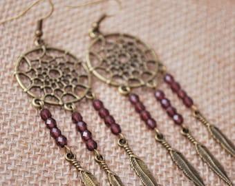 Dreamcatcher earrings, music festival jewelry, dream catcher purple beads earrings, summer feather earrings