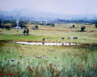 Cattle Ranch Original Watercolor Painting