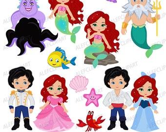 Mermaid, Little Mermaid Clipart, Mermaid Clipart, Princess Mermaid Clipart