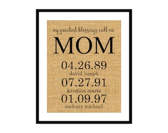On Sale! Mother's Day Burlap Print, Digital Download, My Greatest Blessings Call Me Mom, Mimi Nana Gift, Grandmother, From Kids, Wall Art