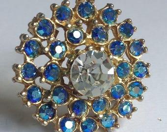 Flower Brooch - Blue Rhinestones - Vintage Brooch - Vintage Jewellery -  Gifts for Her -  Women's Gifts