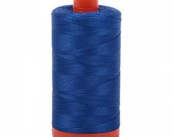 Medium Blue Aurifil Mako Cotton Thread Color 2735, 50 wt, 1300m, 1 spool