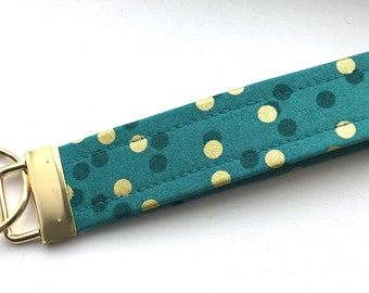 Ombré Lagoon Blue Gold  Dots Key Chain Wristlet Key Fob Gold Colored Hardware Unique Wristlet Key Fob Ombre Confetti Fabric