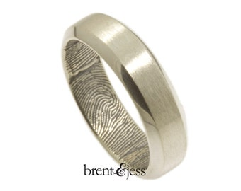 Beveled Edge Handcrafted Fingerprint Wedding Band with Interior Wrap Print in Sterling Silver