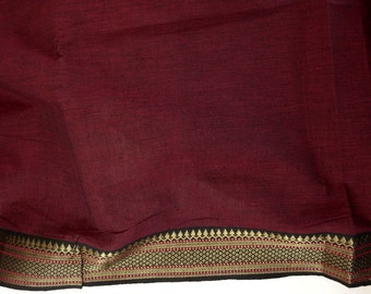 Handloom cotton fabric in Red and Black - one yard Yard  VMC2