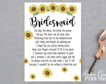 Sunflower Themed Bridesmaid Printable Poem - Sunflower Themed Bridesmaid Greeting Card - Bridesmaid Bridal Party Card - Instant Download