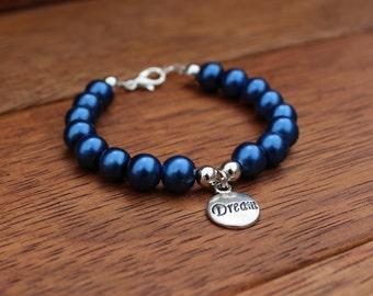 Dream Blue Glass Pearl Bracelet.