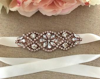 Rose Gold Bridal Bracelet, Bouquet Wrap, Vintage Bridal Cuff, Wedding Jewelry, Flower Girl Bracelet, Bridal Shower Gift, Bridal Jewelry