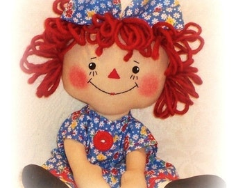 Cloth Doll sewing Pattern, PDF pattern, Rag Doll Pattern, raggedy Ann, primitive doll pattern, Annie pattern