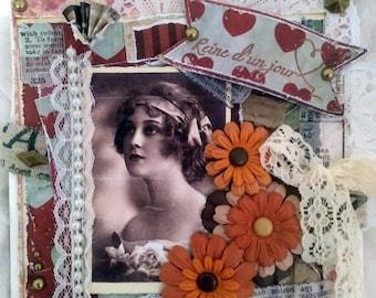 Carte anniversaire, 3D, vintage, thème femme, format chevalet.