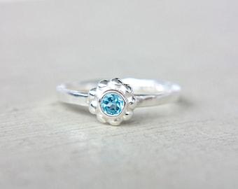 SALE 50% OFF Blue Topaz Ring Little Flower Ring Swiss Blue Topaz Ring Petite Ring December Birthstone Ring Size 5,5 Sterling Ring