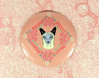 Siamese cat button, cat fridge magnet or pinback button
