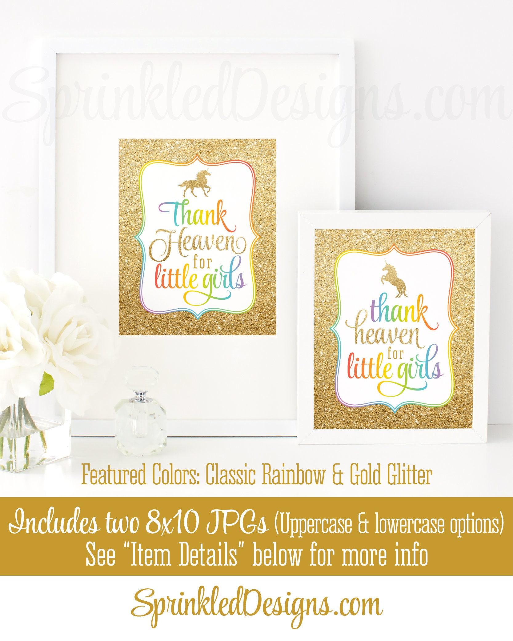 Thank Heaven for Little Girls Sign Unicorn Baby Shower
