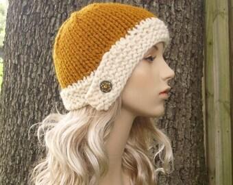 Knit Hat Womens Hat Mustard Hat Cream Hat - Cloche Knit Hat in Mustard Yellow and Cream Knit Hat - Womens Accessories Winter Hat