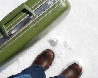Leaving Wyoming - portrait photograph - vintage suitcase travel vacation luggage feet snow