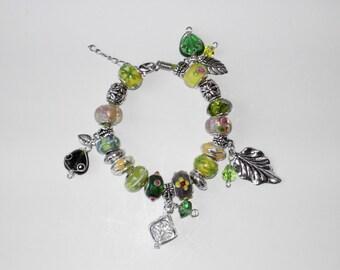 Green Lampwork charm leather  bracelet (#304)