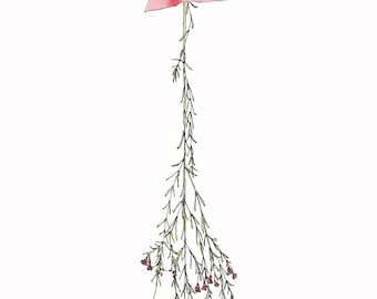 SALE - A5 Art Print / Postcard, Dried Flower #02, Illustration, Watercolor and Pen
