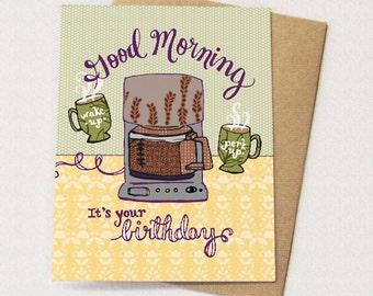 Coffee Pot Birthday Card - blank inside, coffee card