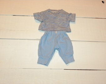 Blue and White Striped Tshirt and Blue Pants - 12 inch boy doll clothes