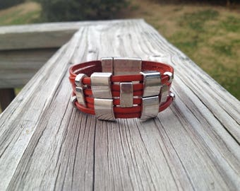 Rust and Silver Leather Bracelet with Magnetic Clasp