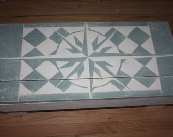 Hand Made Compass Rose Bench/Foot Stool