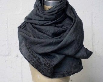 gray linen printed hand dyed scarf