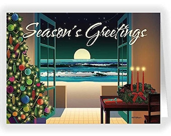 Beach Holiday Sceene Christmas Card - 18 Holiday Cards and Envelopes - RKX47