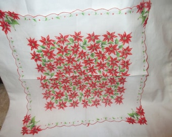 Vintage POINSETTIA Flower FLoral Christmas HANDKERCHIEF Dresser Scarf Doily Bright Red Color