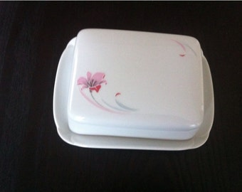 ARZBERG Germany  White Ceramic  Butter Dish with Lid / Covered Butter Dish  / Butter Dish Vintage  made in Germany / /
