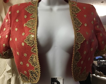 1980's Orange and Gold Embroidered and Sequins Bolero Jacket by Liancarlo for Neiman Marcus Size: 4