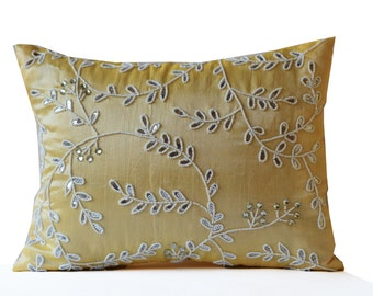 Yellow throw pillow, Beaded yellow, sequin throw pillow, silk pillow, crystal pillow, yellow silk pillow, beaded cushion, Mother's day gifts