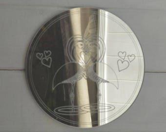 Flamingo Lovers Circle Acrylic Mirror