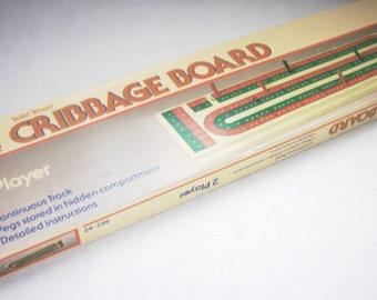 Cribbage Board Vintage Game Board Red Green Wood Family Fun Oldie but Goodie Classic Board Game Cribbage Card Games Vintage Wood Board Game