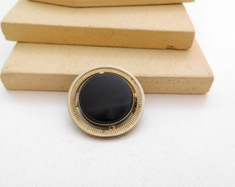 Vintage Mid-Century Small Black Silver Tone Mod Circle Brooch Pin O48