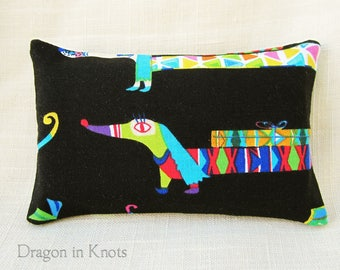 Birthday Dog Mini Tissue Holder - Dachshund Pocket Tissue Case, Black Cotton Fabric Accessory, Facial Tissue Cover for Backpack, wiener dog