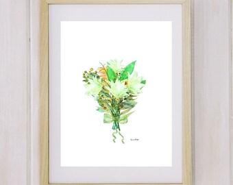 Printable Art Watercolor white Lily,  Flower Wall Art, Botanical Art, Floral Bouquet, Floral Nursery Floral Print Art
