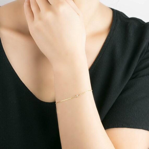 Rose gold star diamond chain bracelet tiny star bracelet