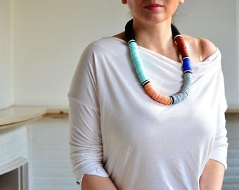 African bead necklace, color block necklace, modern bead necklace, mid long necklace, statement necklace, blue necklace, 2018 necklace, mint