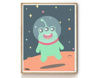 Alien Art Print . Outer Space Print for Kids . Baby Nursery Art . Children Illustration . Nursery Wall Art . Outer Space Decor . KP0070