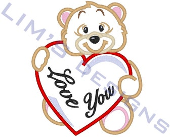 "Love Bear applique machine embroidery design- 3 sizes 4x4"", 5x7"", 6x10"""