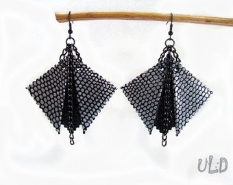 Black leather geometric earrings - Graduation party accessories - Handmade leather jewelry by Uniqueleatherdesign