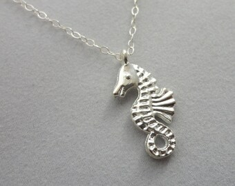 Silvertone Seahorse Sterling Silver Chain Necklace